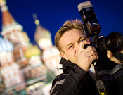 Taking photos on Red Square at Night