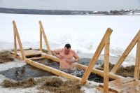 Bathing in Freezing Water in the lake Krugloe