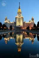 Reflections of Moscow State University in Twilight