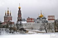 Panorama of Novodevichy convent in winter