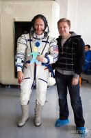Moscow Driver and Guide with astronaut Doug Hurley and Flat Stanley