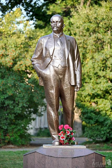 Monument to Lenin with Flowers