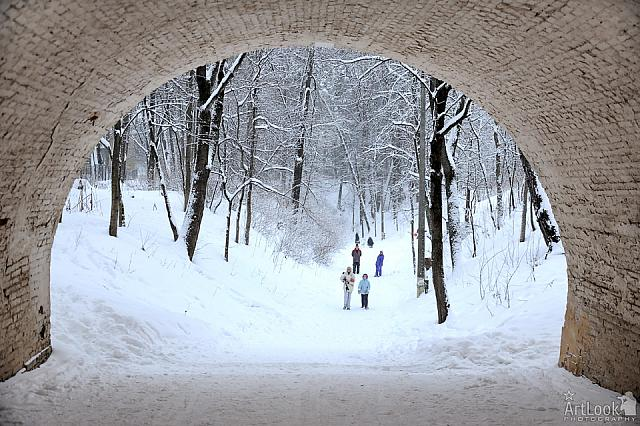 Looking Through Archway at the Ravine in Snow