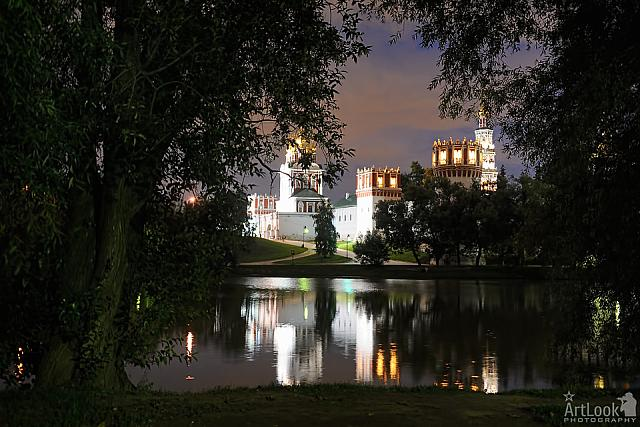 Framed Novodevichy Convent with Sparkling Reflections in Twilight