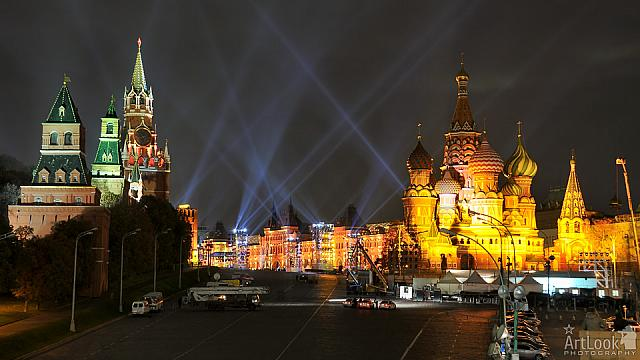 Red Square Illuminated in Gold