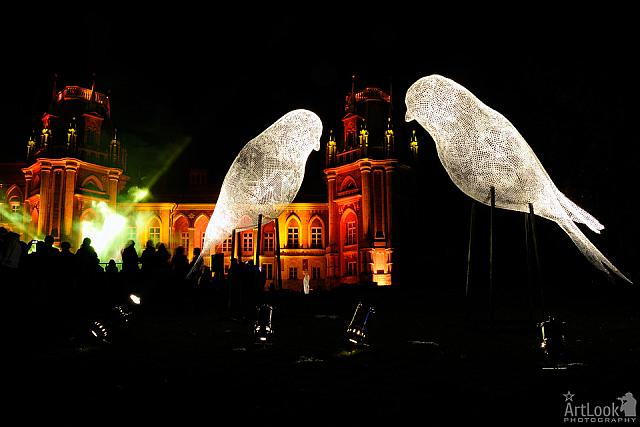 Luminous Wire Birds in front of Tsaritsyno Palace