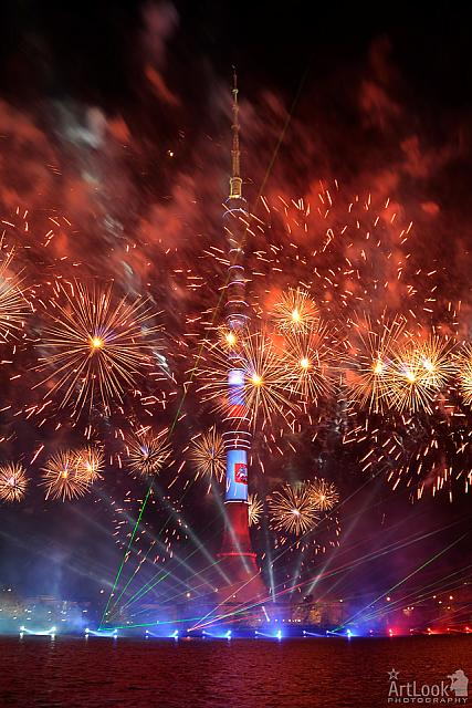 Spectacular Fireworks at Ostankino TV Tower