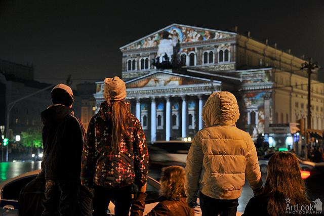 Kids Watching Spectacular Video Projections on Bolshoi Theater