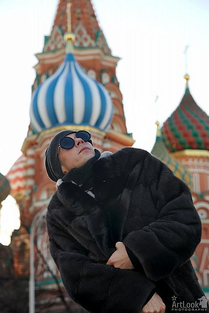 Under Protection of His Favorite Blue-and-White Dome of St. Basil's