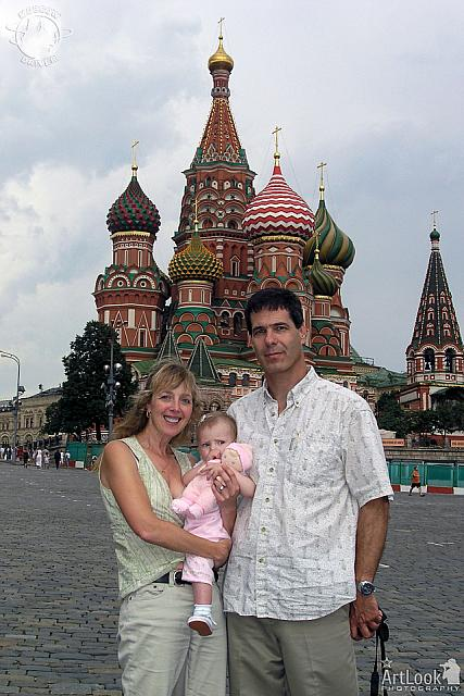 In front of St. Basil's cathedral with Anastasia