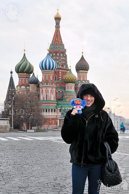 With Blue Cheburashka at Red Square