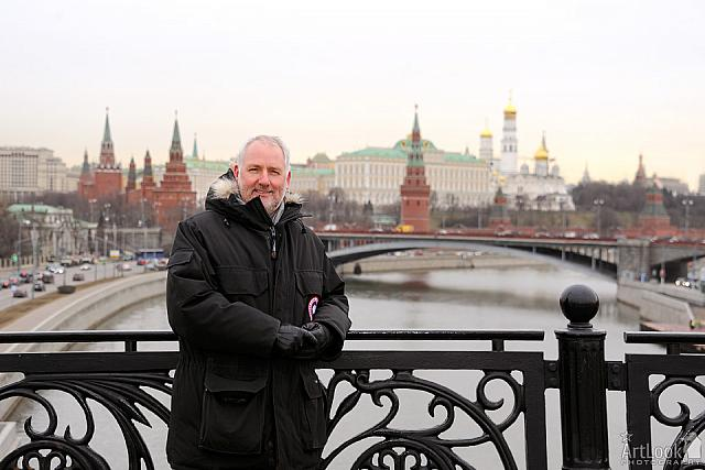 Portrait on Patriarchy Bridge with Panorama of Moscow Kremlin