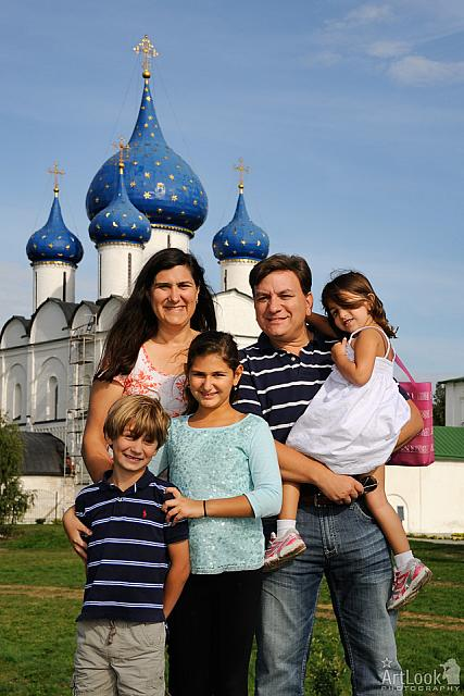 With Blue Onion Cupolas of Nativity Cathedral in Suzdal
