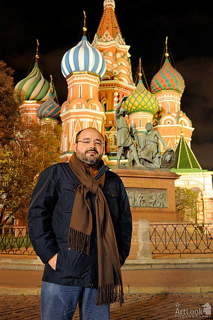In front of Magnificent St. Basil's Cathedral at Night
