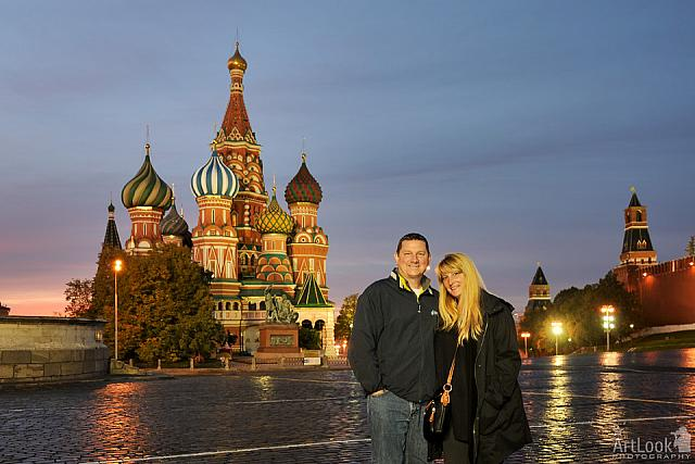 On Empty Red Square at Morning Twilight