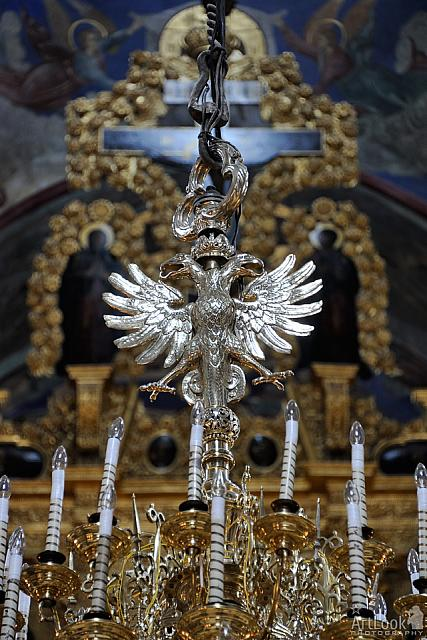 Double-Headed Eagle on top of Church Chandelier in Lavra