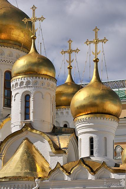 Golden Cupolas with Crosses of Annunciation Cathedral in Moscow Kremlin