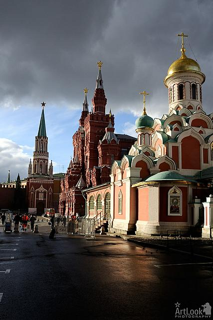 Red Square Towers in Sunlight