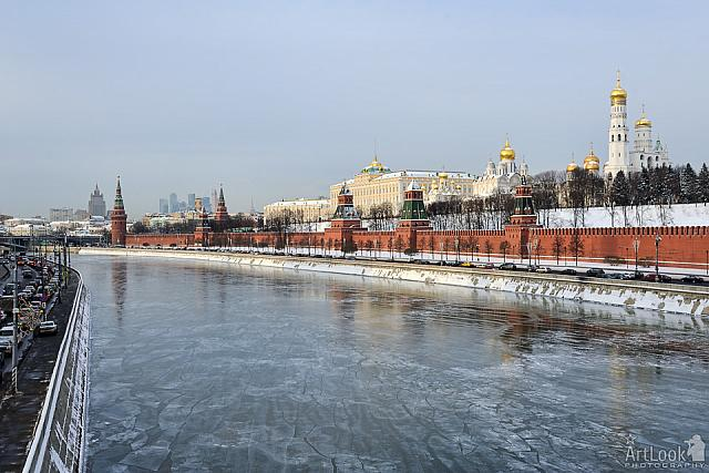 Frozen River at the Moscow Kremlin