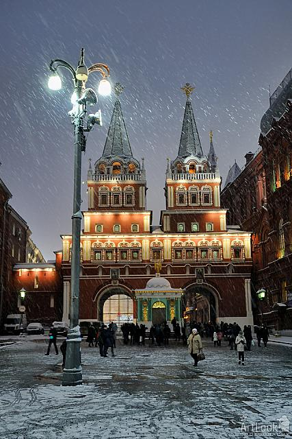 Snowing in Red Square's Resurrection Gate
