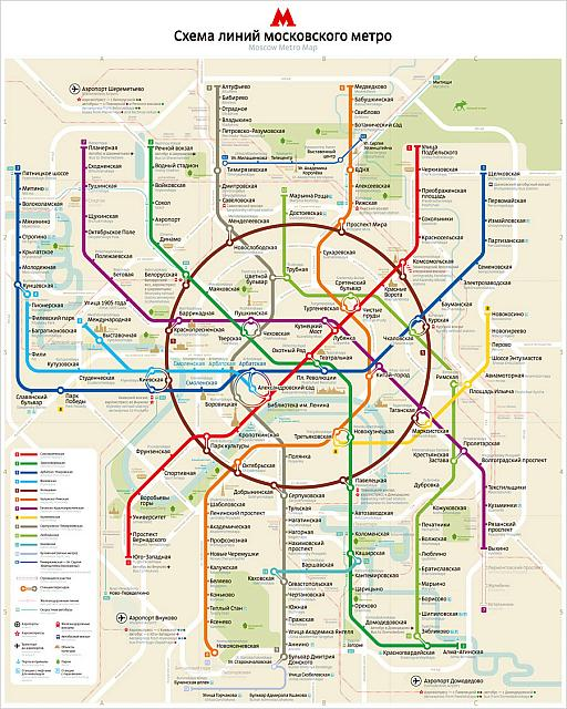 Moscow Metro Map 2013 by Art Lebedev Studio with Landmarks