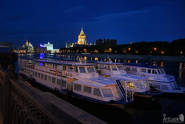 Docked River Boats at Krasnopresnenskaya Embankment