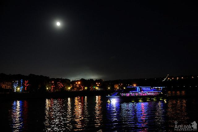 Moonlight and Radisson Cruise Ship on the Moscow River