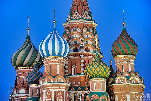 Colorful Cupolas of St. Basil's Cathedral at Twilight