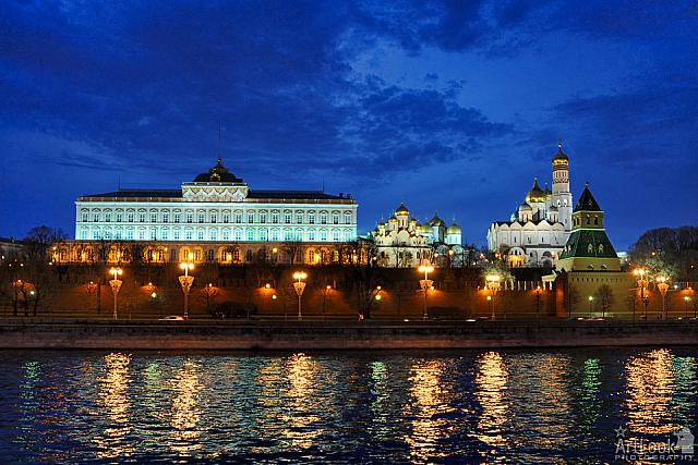 Twilight Over Architectural Ensemble of Moscow Kremlin