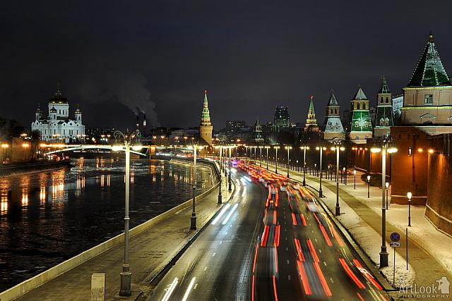 Kremlin Embankment at the Evening Rush Hours in Winter