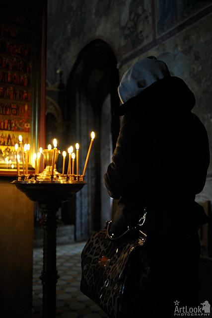Woman in Pray - Nativity church in Zvenigorod