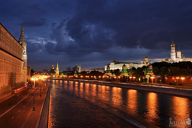 Clouds Build Up Over Moscow at Evening Twilight