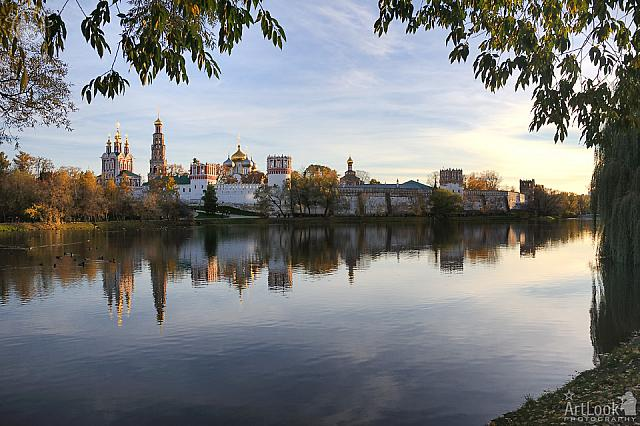 Sunset over Novodevichy in Golden Autumn Evening