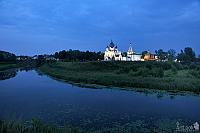 Twilight over Kamenka River and Suzdal Kremlin in Summer