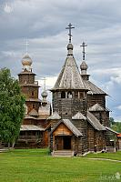 Wooden Churches under Grey Skies