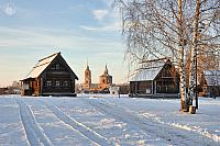 Winter Scene with Russian Old Wooden Houses
