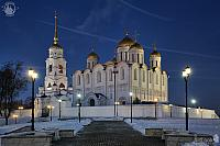 Assumption Cathedral Between Street Lights at Winter Twilight