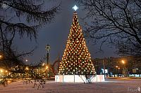 Gagarin Square Christmas Tree Framed by Trees at Morning Dusk