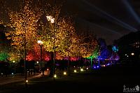 Colorful lighting of the tree alley in Tsaritsyno Park