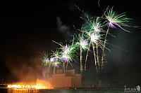 Colorful Palms over the Water and Fire - Fireworks at Krylatskoye