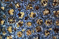 St. Basil's Floral Ornaments with Blue Background (Stained Glass Effect)