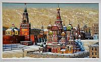 "Painting ""Red Square and St. Basil's Cathedral"" on Mother of Pearl"