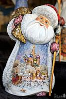 The Jolly Russian Santa with a Painting of Troika and St. Basil's