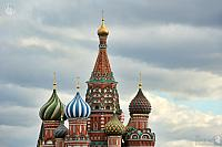 Cupolas of St. Basil's Cathedral Against Clouds