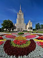 Colorful flowers in front of hotel Ukraina (Ukraine)