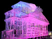 Icy Miniature of Bolshoi Theater Aglow in Pink and Blue Lights