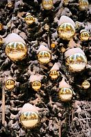 Snow on Golden New Year Balls