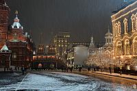 Festive Buildings in Red Square under Snowfall