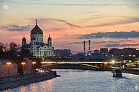 Cathedral of Christ the Savior and Moskva-River at Pink Sunset