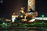 At the Foot of the Main Victory Monument at Night